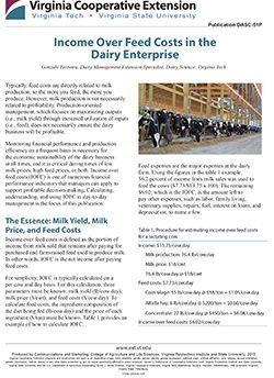 Income Over Feed Costs in the Dairy Enterprise