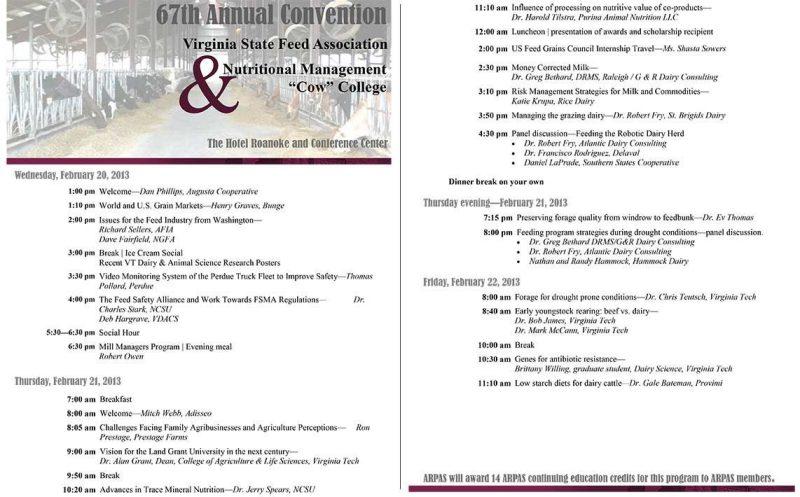 2013 Vsfa Convention Vt Nutritional Management Cow College